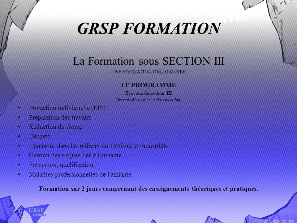 GRSP FORMATION La Formation sous SECTION III UNE FORMATION OBLIGATOIRE LE PROGRAMME Travaux de section III (Travaux dentretient et de rénovation) Prot