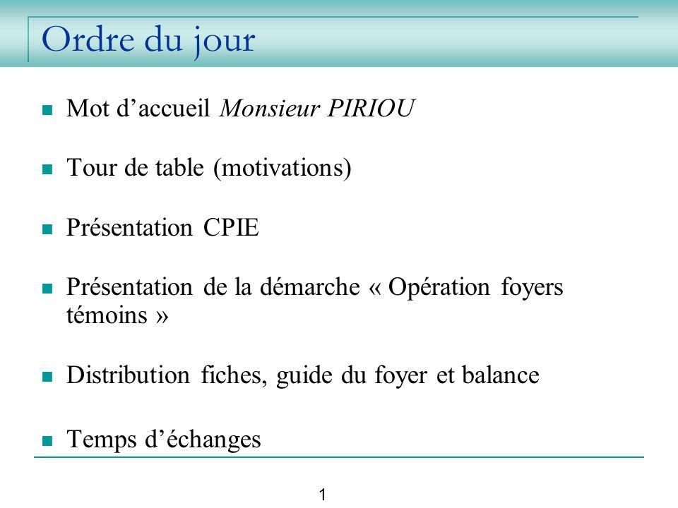 Ordre du jour Mot daccueil Monsieur PIRIOU Tour de table (motivations) Présentation CPIE Présentation de la démarche « Opération foyers témoins » Dist