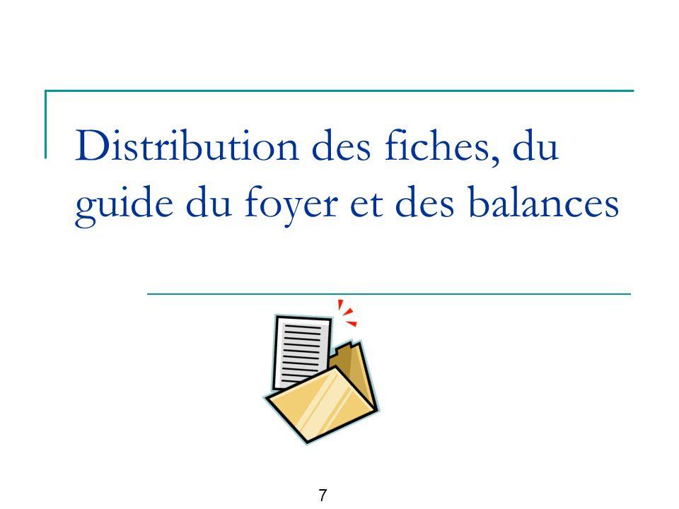 Distribution des fiches, du guide du foyer et des balances 7
