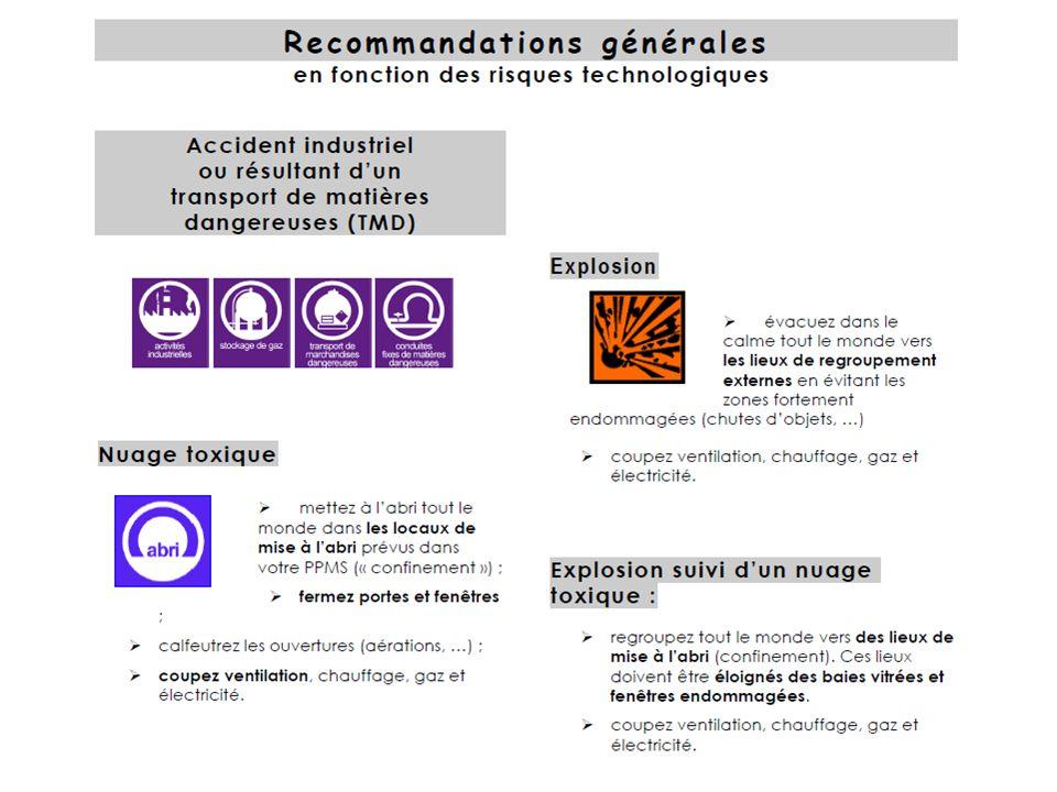 Recommandations générales ( risques technologiques )