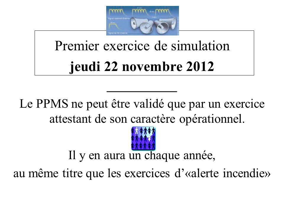 Exercice de simulation Premier exercice de simulation jeudi 22 novembre 2012 ___________ Le PPMS ne peut être validé que par un exercice attestant de