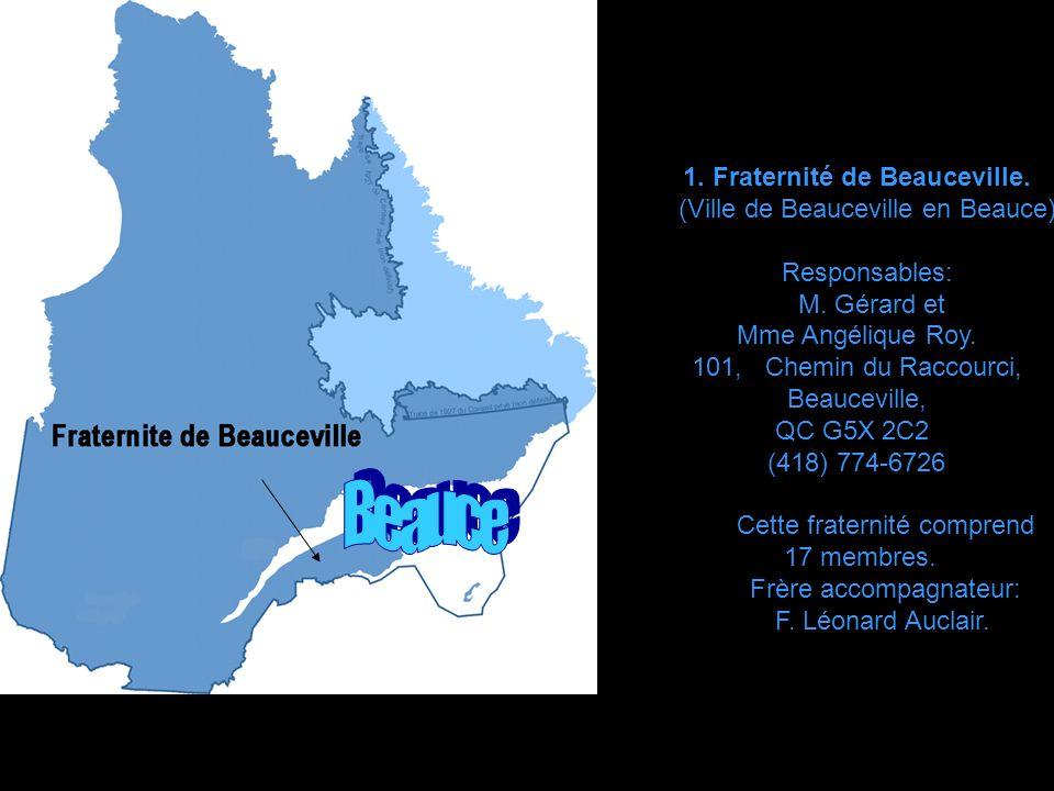 Les différentes Villes du Québec o ù se trouvent Les fraternités du Mouvement Champagnat de la Famille mariste du Canada