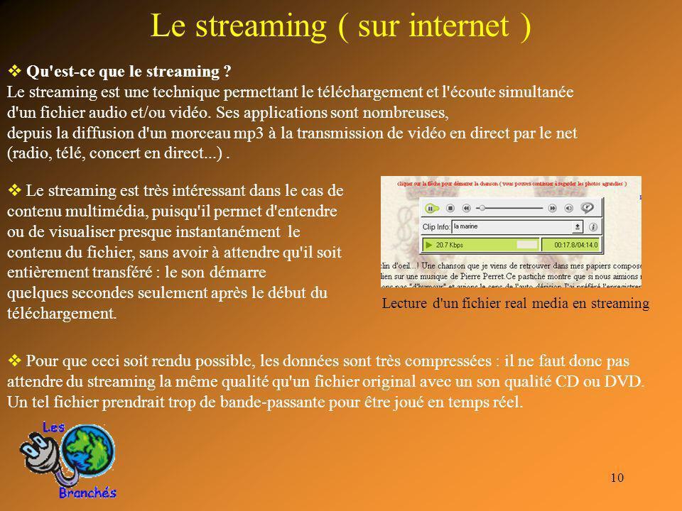 10 Le streaming ( sur internet ) Pour que ceci soit rendu possible, les données sont très compressées : il ne faut donc pas attendre du streaming la m