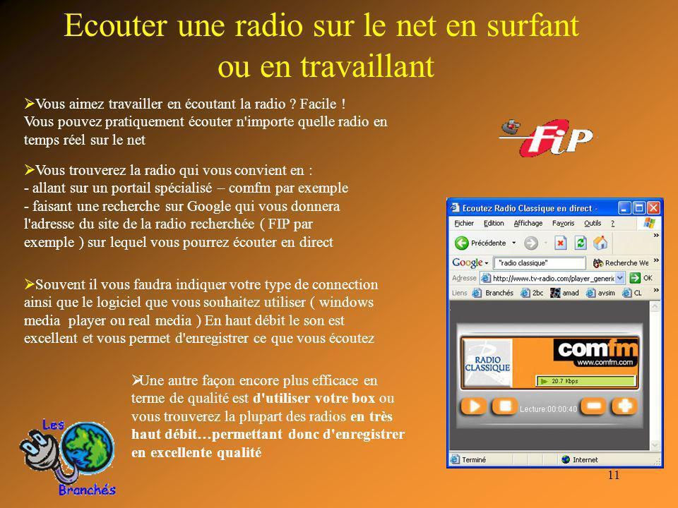 11 Ecouter une radio sur le net en surfant ou en travaillant Vous aimez travailler en écoutant la radio ? Facile ! Vous pouvez pratiquement écouter n'
