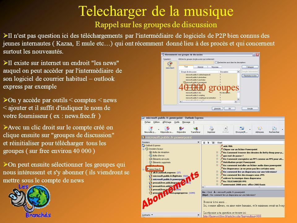 13 Telecharger de la musique Rappel sur les groupes de discussion Il n'est pas question ici des téléchargements par l'intermédiaire de logiciels de P2