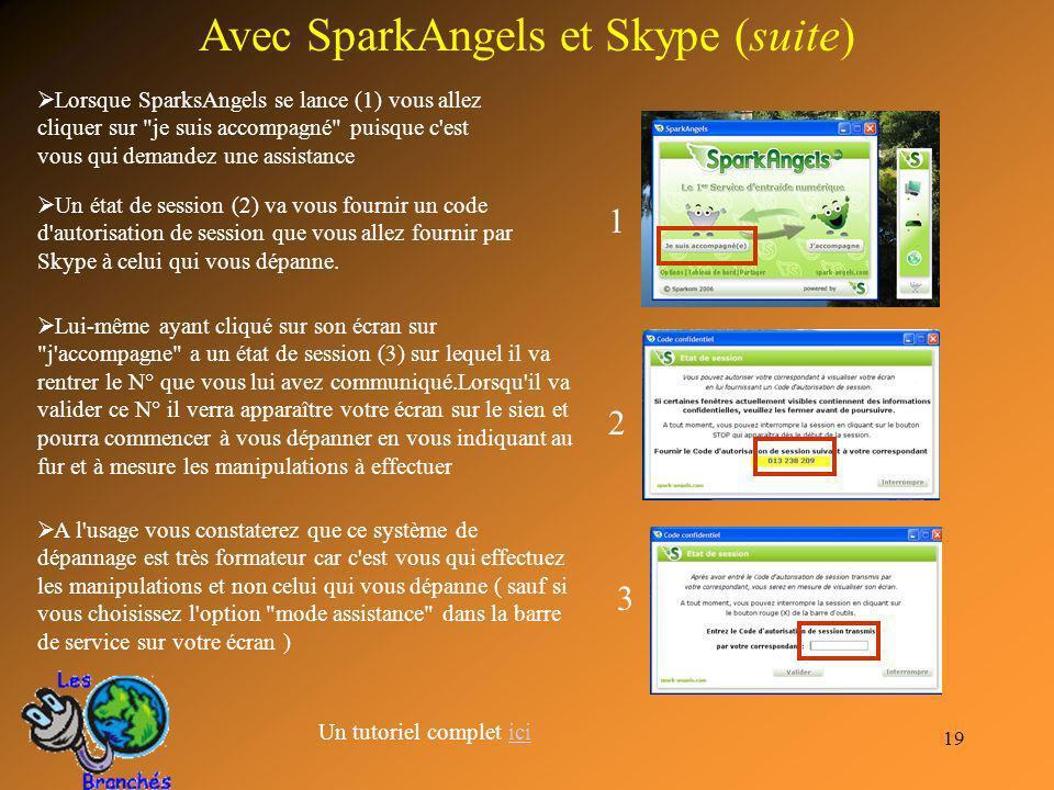 19 Avec SparkAngels et Skype (suite) Lorsque SparksAngels se lance (1) vous allez cliquer sur
