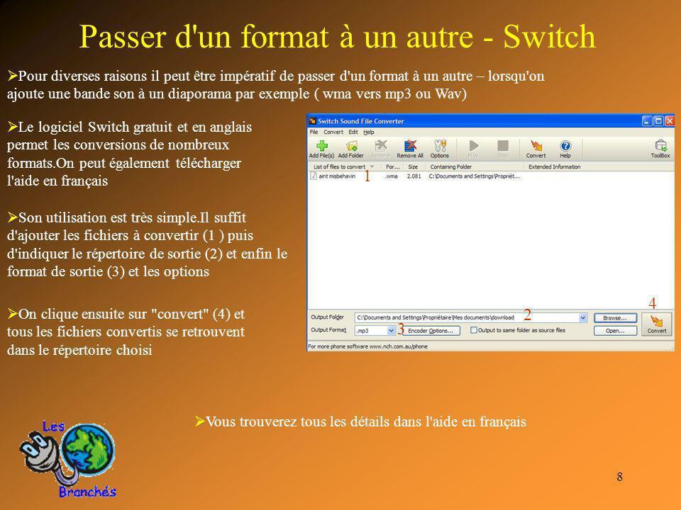 8 Passer d'un format à un autre - Switch Pour diverses raisons il peut être impératif de passer d'un format à un autre – lorsqu'on ajoute une bande so