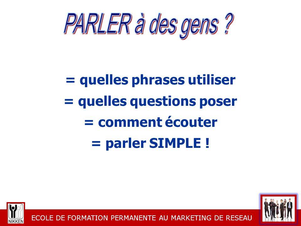 ECOLE DE FORMATION PERMANENTE AU MARKETING DE RESEAU = quelles phrases utiliser = quelles questions poser = comment écouter = parler SIMPLE !