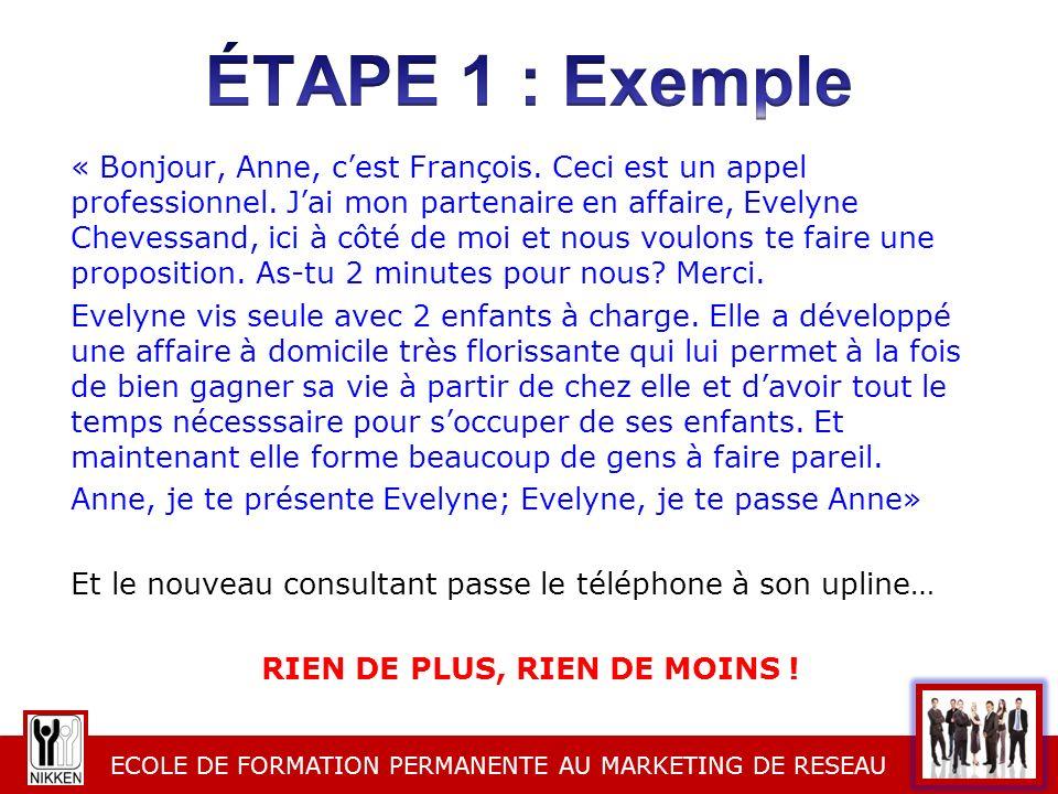 ECOLE DE FORMATION PERMANENTE AU MARKETING DE RESEAU « Bonjour, Anne, cest François. Ceci est un appel professionnel. Jai mon partenaire en affaire, E