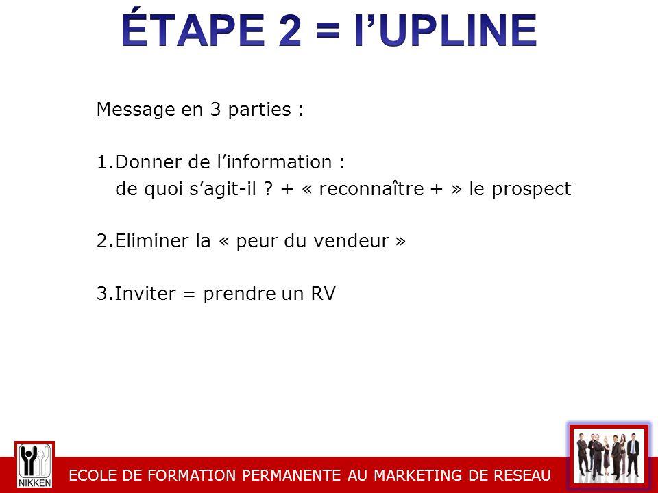 ECOLE DE FORMATION PERMANENTE AU MARKETING DE RESEAU Message en 3 parties : 1.Donner de linformation : de quoi sagit-il ? + « reconnaître + » le prosp