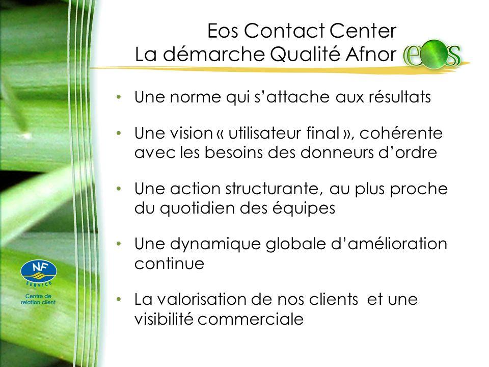 Eos Contact Center La démarche Qualité Afnor Une norme qui sattache aux résultats Une vision « utilisateur final », cohérente avec les besoins des don