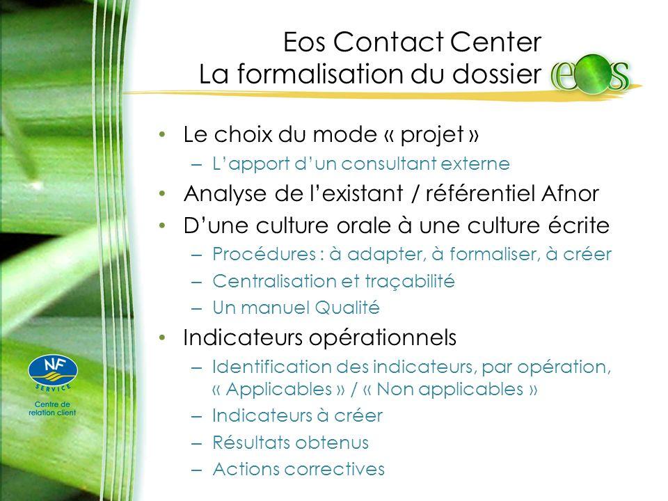 Eos Contact Center La formalisation du dossier Le choix du mode « projet » – Lapport dun consultant externe Analyse de lexistant / référentiel Afnor D