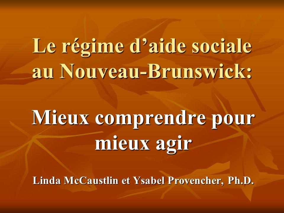 Le régime daide sociale au Nouveau-Brunswick: Mieux comprendre pour mieux agir Linda McCaustlin et Ysabel Provencher, Ph.D.