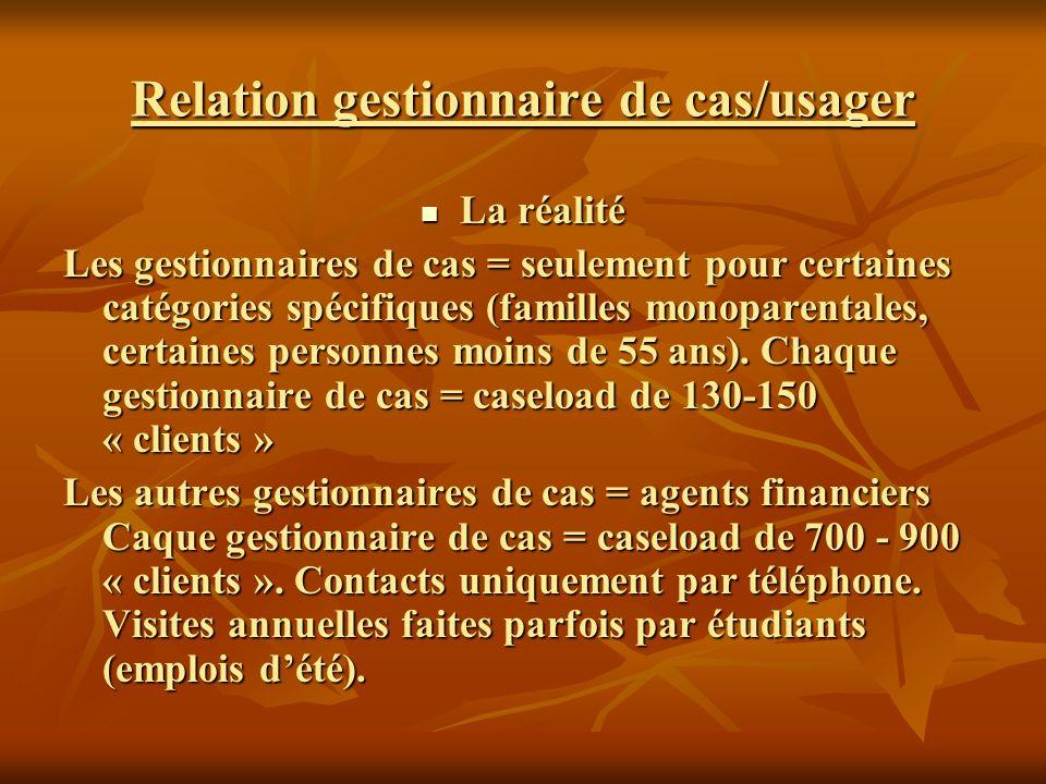 Relation gestionnaire de cas/usager La réalité La réalité Les gestionnaires de cas = seulement pour certaines catégories spécifiques (familles monoparentales, certaines personnes moins de 55 ans).