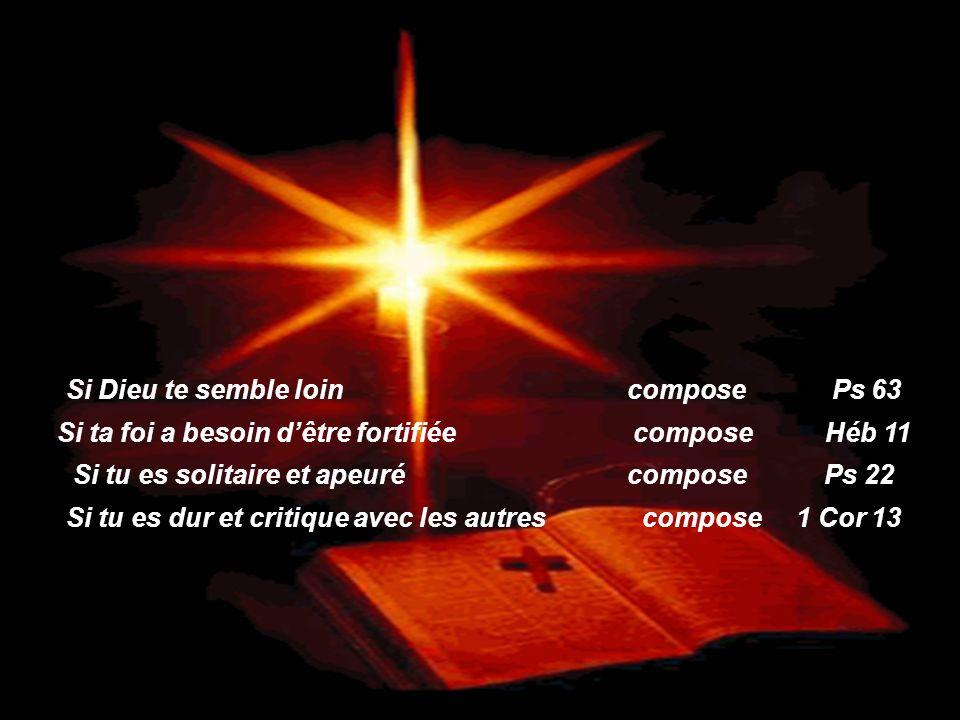 Si tu es triste, compose Jean 14. Si on parle mal de toi, compose Psaume 27. Si tu as des soucis, compose Matthieu 6:19,34. Si tu es en danger, compos