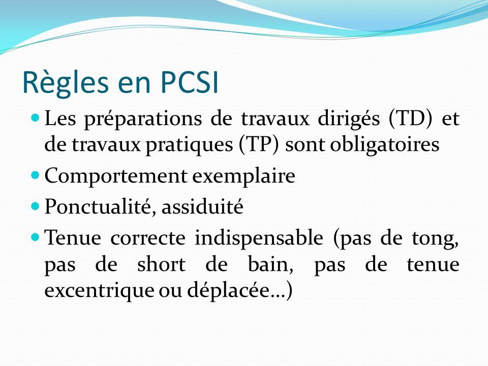 Règles en PCSI Les préparations de travaux dirigés (TD) et de travaux pratiques (TP) sont obligatoires Comportement exemplaire Ponctualité, assiduité