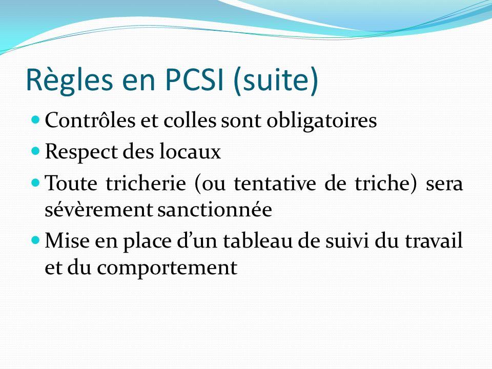 Règles en PCSI (suite) Contrôles et colles sont obligatoires Respect des locaux Toute tricherie (ou tentative de triche) sera sévèrement sanctionnée M