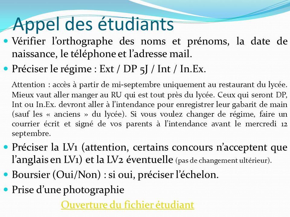 Appel des étudiants Vérifier lorthographe des noms et prénoms, la date de naissance, le téléphone et ladresse mail. Préciser le régime : Ext / DP 5J /