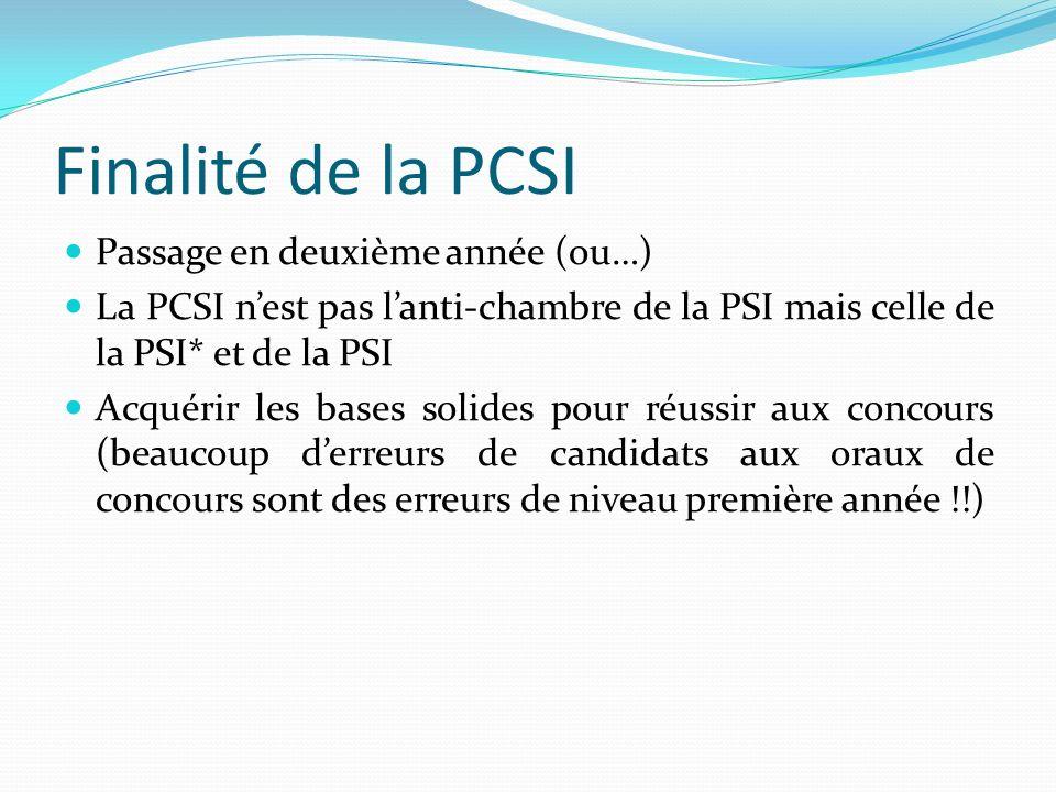 Finalité de la PCSI Passage en deuxième année (ou…) La PCSI nest pas lanti-chambre de la PSI mais celle de la PSI* et de la PSI Acquérir les bases sol