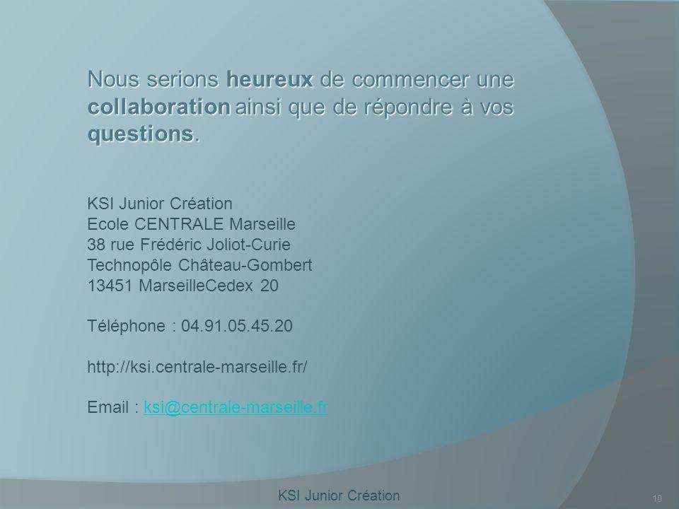 KSI Junior Création 10 Nous serions heureux de commencer une collaboration ainsi que de répondre à vos questions.