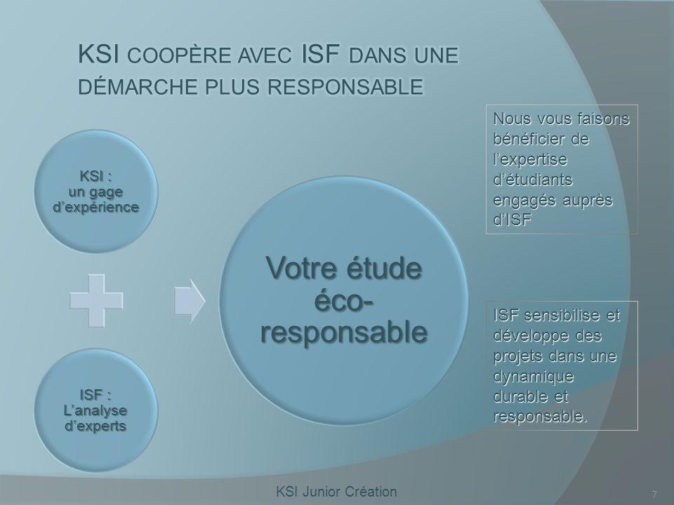 KSI Junior Création 7 KSI : un gage dexpérience ISF : Lanalyse dexperts Votre étude éco- responsable Nous vous faisons bénéficier de lexpertise détudiants engagés auprès dISF ISF sensibilise et développe des projets dans une dynamique durable et responsable.