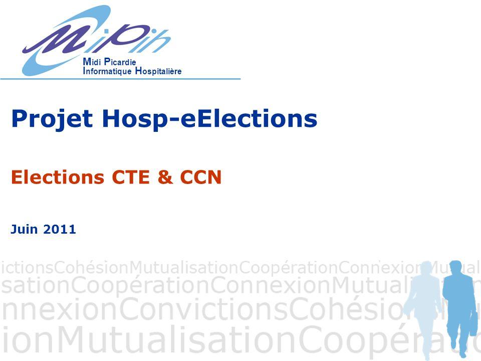 M idi P icardie I nformatique H ospitalière Projet Hosp-eElections Elections CTE & CCN Juin 2011