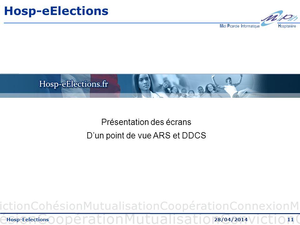 11 H ospitalière M i di P icardie I nformatique Hosp-eElections Hosp-Eelections 28/04/2014 Présentation des écrans Dun point de vue ARS et DDCS