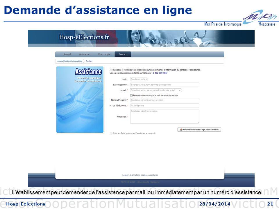 21 H ospitalière M i di P icardie I nformatique Demande dassistance en ligne Hosp-Eelections 28/04/2014 Létablissement peut demander de lassistance par mail, ou immédiatement par un numéro dassistance.