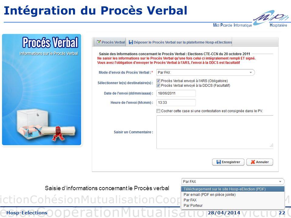 22 H ospitalière M i di P icardie I nformatique Intégration du Procès Verbal Hosp-Eelections 28/04/2014 Saisie dinformations concernant le Procès verbal