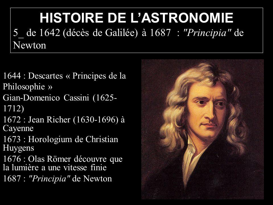 1644 : Descartes « Principes de la Philosophie » Gian-Domenico Cassini (1625- 1712) 1672 : Jean Richer (1630-1696) à Cayenne 1673 : Horologium de Chri