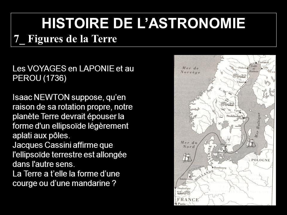 Les VOYAGES en LAPONIE et au PEROU (1736) Isaac NEWTON suppose, quen raison de sa rotation propre, notre planète Terre devrait épouser la forme d'un e
