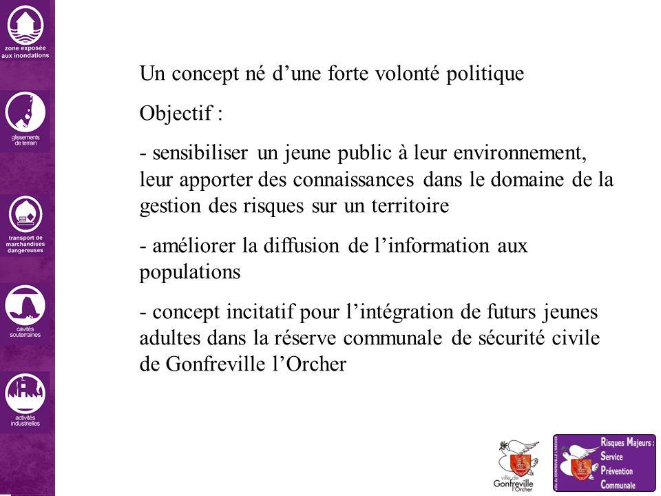 Un concept né dune forte volonté politique Objectif : - sensibiliser un jeune public à leur environnement, leur apporter des connaissances dans le dom