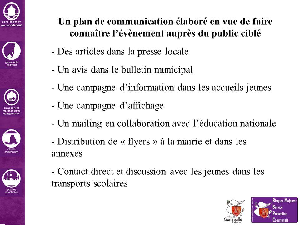 Un plan de communication élaboré en vue de faire connaître lévènement auprès du public ciblé - Des articles dans la presse locale - Un avis dans le bu