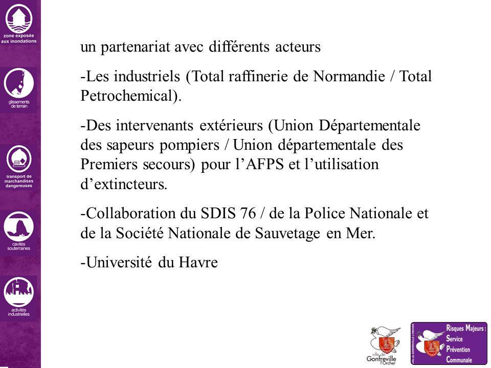 un partenariat avec différents acteurs -Les industriels (Total raffinerie de Normandie / Total Petrochemical). -Des intervenants extérieurs (Union Dép