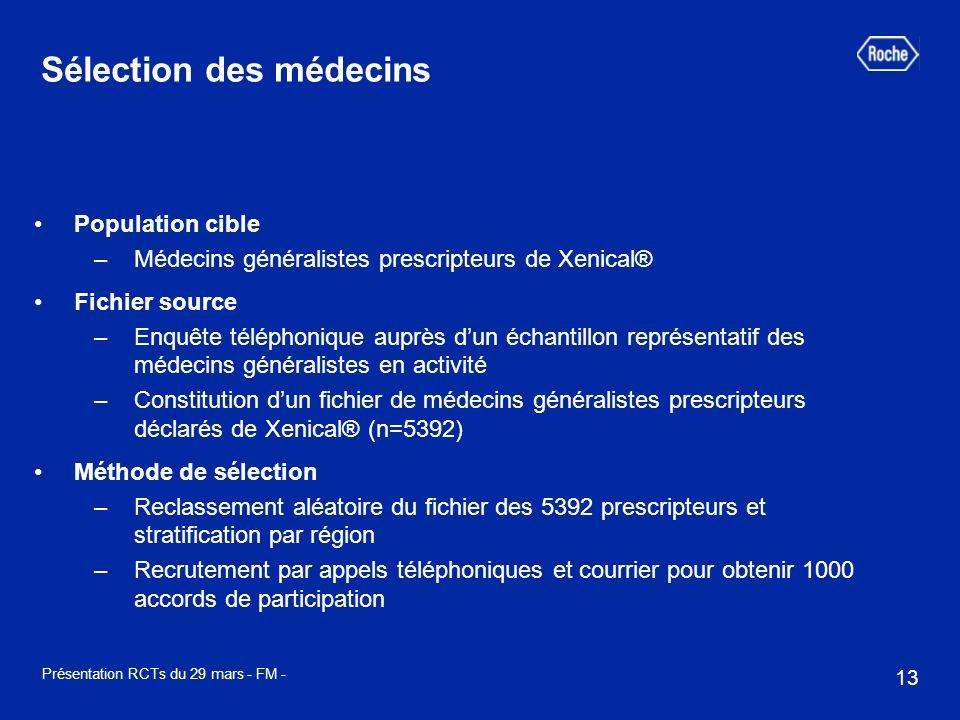 13 Présentation RCTs du 29 mars - FM - Population cible –Médecins généralistes prescripteurs de Xenical® Fichier source –Enquête téléphonique auprès d