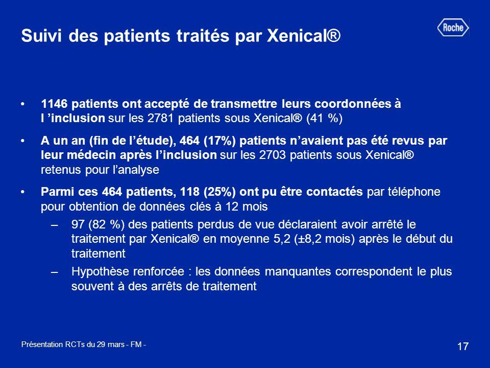 17 Présentation RCTs du 29 mars - FM - 1146 patients ont accepté de transmettre leurs coordonnées à l inclusion sur les 2781 patients sous Xenical® (4