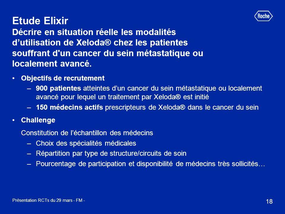 18 Présentation RCTs du 29 mars - FM - Etude Elixir Décrire en situation réelle les modalités dutilisation de Xeloda® chez les patientes souffrant d un cancer du sein métastatique ou localement avancé.