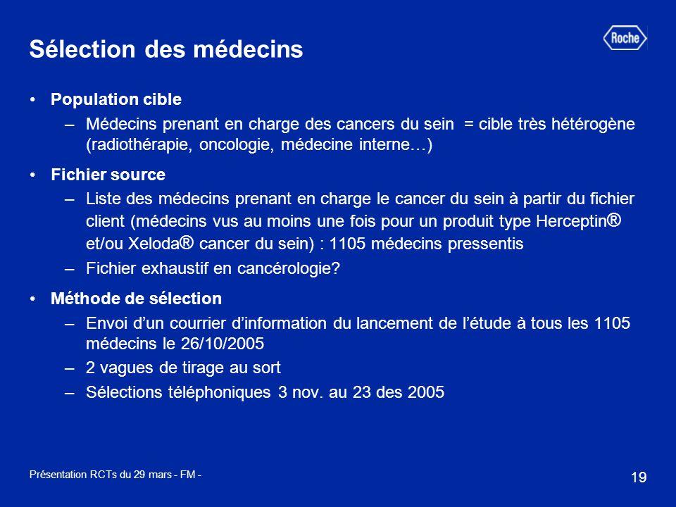 19 Présentation RCTs du 29 mars - FM - Sélection des médecins Population cible –Médecins prenant en charge des cancers du sein = cible très hétérogène