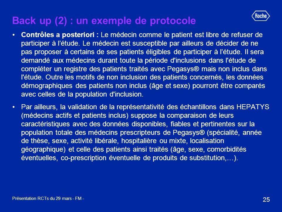 25 Présentation RCTs du 29 mars - FM - Back up (2) : un exemple de protocole Contrôles a posteriori : Le médecin comme le patient est libre de refuser de participer à létude.