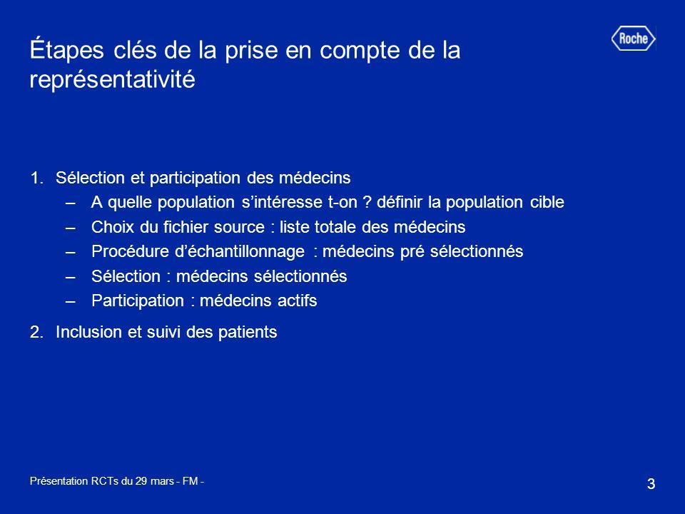 3 Présentation RCTs du 29 mars - FM - Étapes clés de la prise en compte de la représentativité 1.Sélection et participation des médecins –A quelle pop