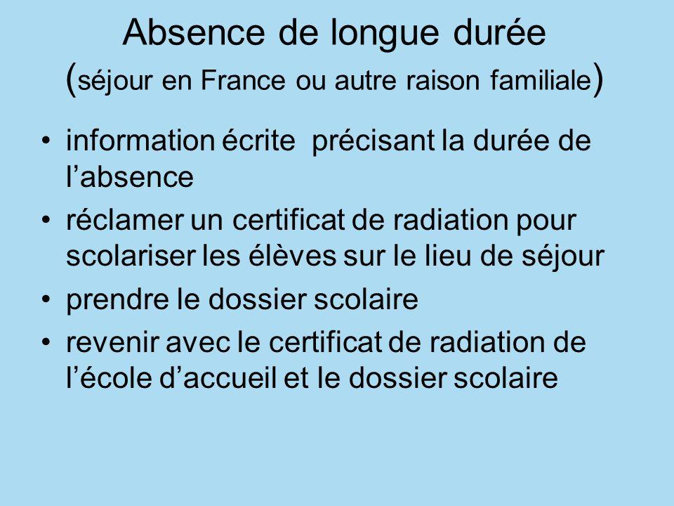 Absence de longue durée ( séjour en France ou autre raison familiale ) information écrite précisant la durée de labsence réclamer un certificat de rad