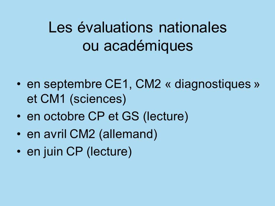 Les évaluations nationales ou académiques en septembre CE1, CM2 « diagnostiques » et CM1 (sciences) en octobre CP et GS (lecture) en avril CM2 (allemand) en juin CP (lecture)
