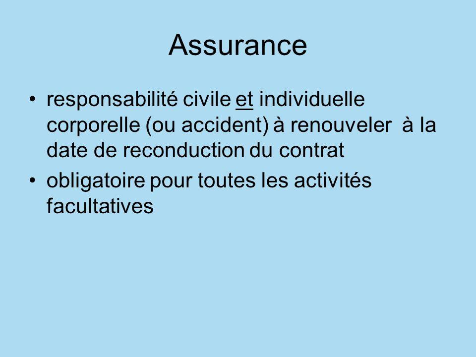 Assurance responsabilité civile et individuelle corporelle (ou accident) à renouveler à la date de reconduction du contrat obligatoire pour toutes les activités facultatives