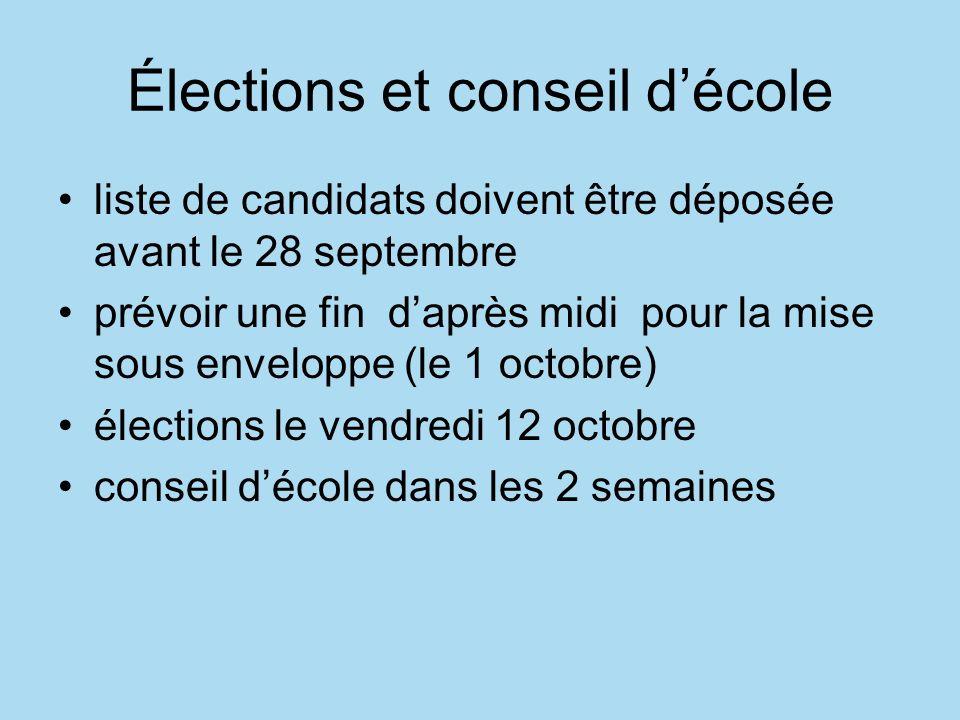 Élections et conseil décole liste de candidats doivent être déposée avant le 28 septembre prévoir une fin daprès midi pour la mise sous enveloppe (le 1 octobre) élections le vendredi 12 octobre conseil décole dans les 2 semaines