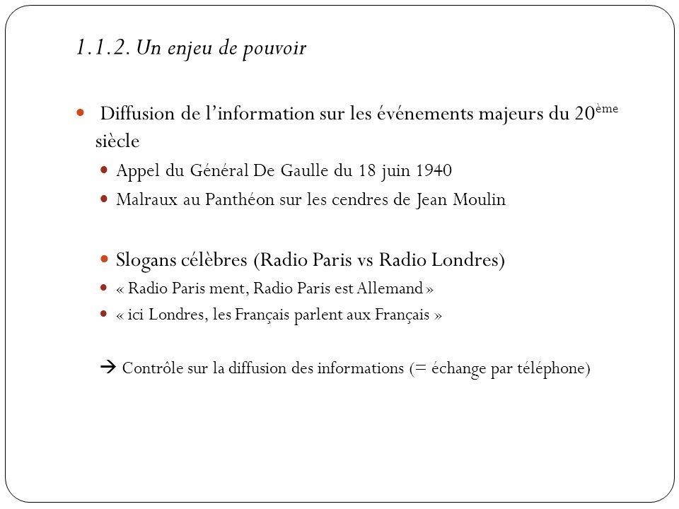 1.1.2. Un enjeu de pouvoir Diffusion de linformation sur les événements majeurs du 20 ème siècle Appel du Général De Gaulle du 18 juin 1940 Malraux au