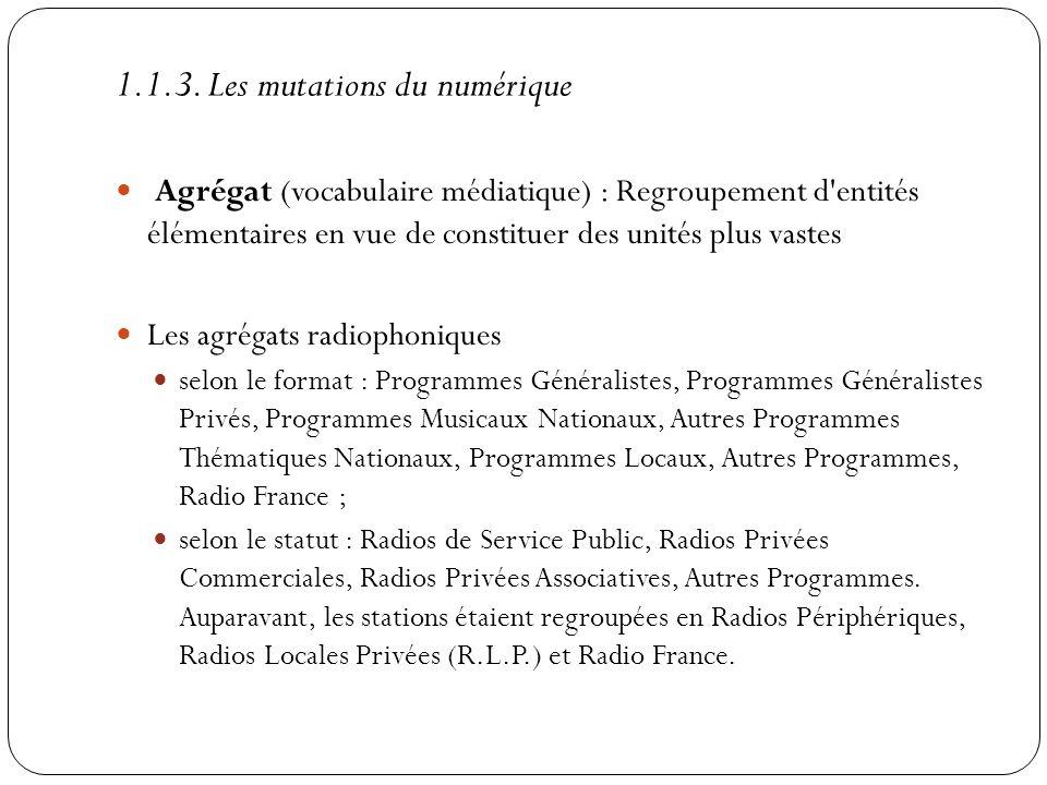 Agrégat (vocabulaire médiatique) : Regroupement d'entités élémentaires en vue de constituer des unités plus vastes Les agrégats radiophoniques selon l