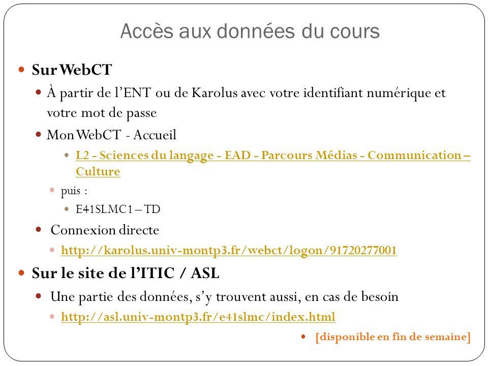 Accès aux données du cours Sur WebCT À partir de lENT ou de Karolus avec votre identifiant numérique et votre mot de passe Mon WebCT - Accueil L2 - Sc