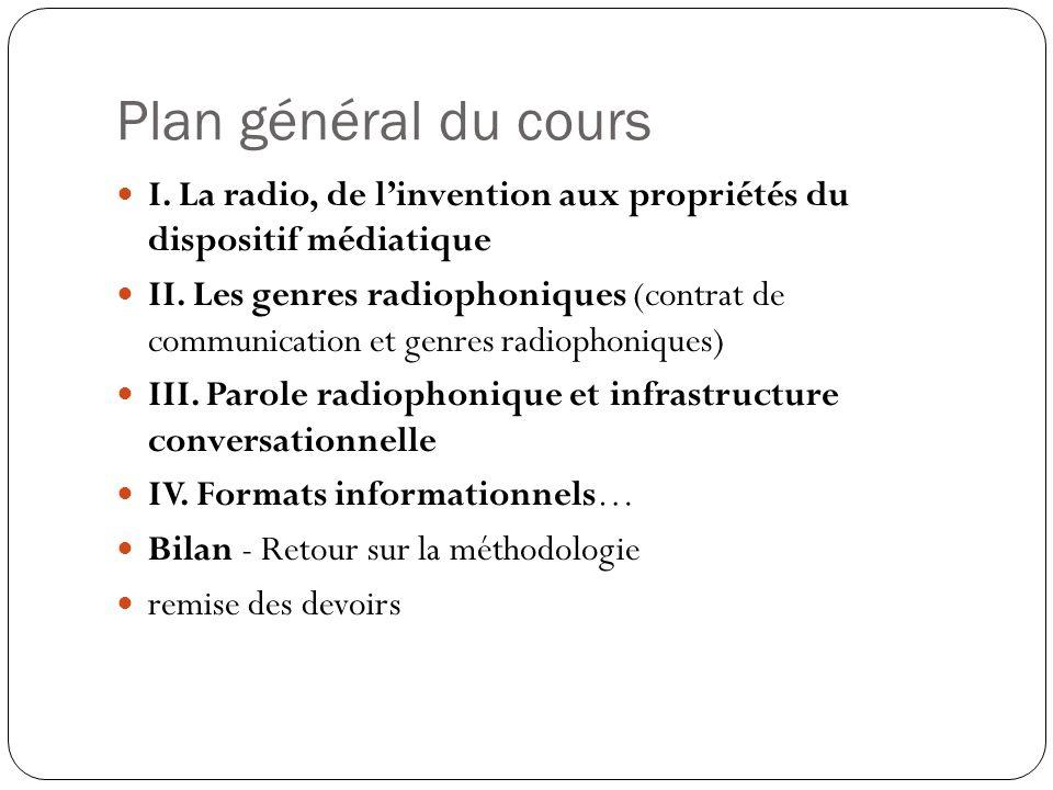 Plan général du cours I. La radio, de linvention aux propriétés du dispositif médiatique II. Les genres radiophoniques (contrat de communication et ge