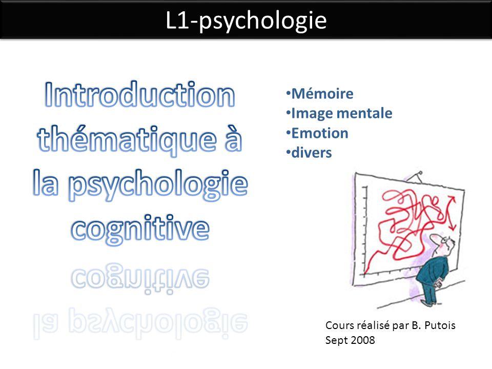 L1-psychologie Cours réalisé par B. Putois Sept 2008 Mémoire Image mentale Emotion divers