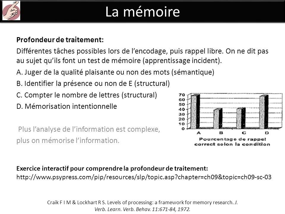 La mémoire Profondeur de traitement: Différentes tâches possibles lors de lencodage, puis rappel libre. On ne dit pas au sujet quils font un test de m